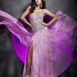 Lila Taş İşlemeli Elbise Modelleri