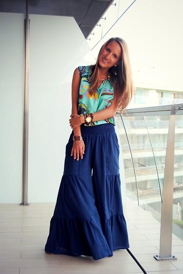 Mavi renkli pantolon etek modeli 2015