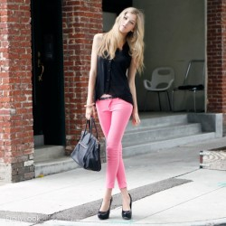 Pantolon Pembe Renk Kombinler