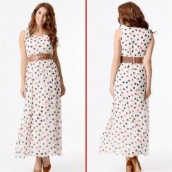 Sade Beyaz Puantiyeli Yazlık Elbise Modelleri
