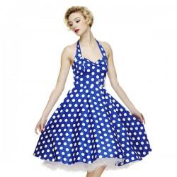 Saks Mavisi Puantiyeli Yazlık Elbise Modelleri