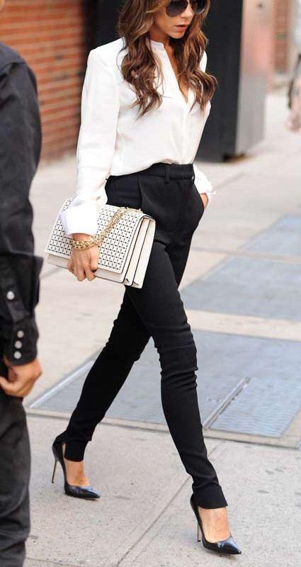 Siyah Kumaş Yüksek Bel Pantolon Kombinleri