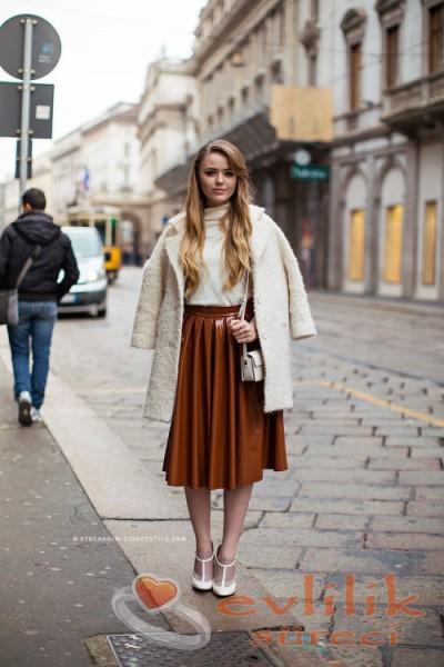 Sokak modası midi etek modelleri