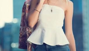 Straplez Beyaz adL Bluz Modelleri