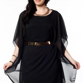 Tül Detaylı Siyah Büyük Beden Elbise Modelleri
