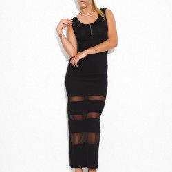 Tül Detaylı Siyah Sense 2015 Elbise Modelleri
