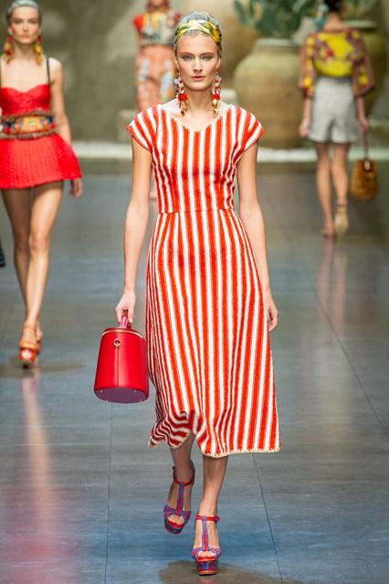Turuncu 2015 Çizgili Elbise Modelleri