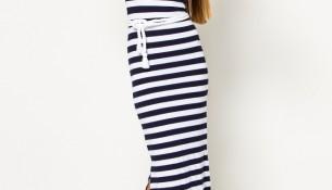 Uzun Lacivert 2015 Çizgili Elbise Modelleri