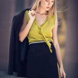 V Yaka Fıstık Yeşili adL Bluz Modelleri