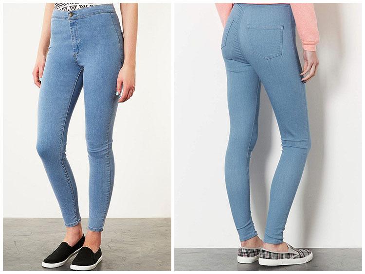 Yüksek bel, dar kesim kot pantolon modeli 2015
