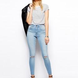 Yüksek bel, yırtık kot pantolon modeli 2015