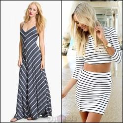 Yeni 2015 Çizgili Elbise Modelleri