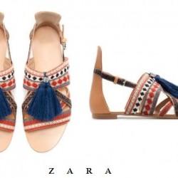 Zara Sandelet Etnik Desenli Ayakkabı Modelleri