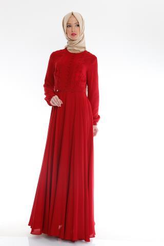 Çok zarif, yeni sezon kırmızı renkli Armine elbise modeli