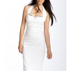 Beyaz rekli en şık askılı elbise modelleri