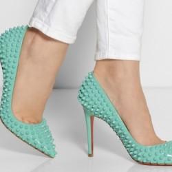 En güzel su yeşili ayakkabı modelleri 2015