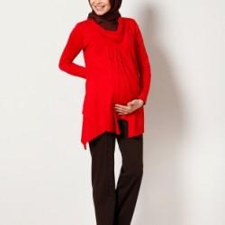 Kırmızı Renkli Tesettür Hamile Elbise Modelli