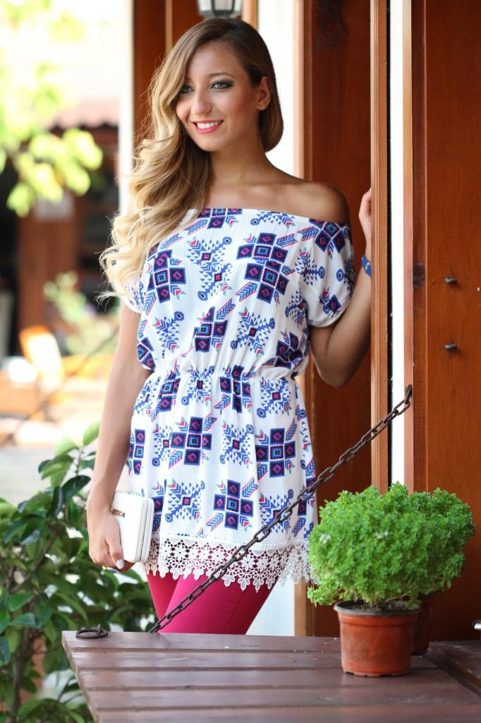 Kayık Yaka Patırtı Bluz Modelleri