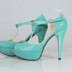 Platform topuk su yeşili ayakkabı modeli