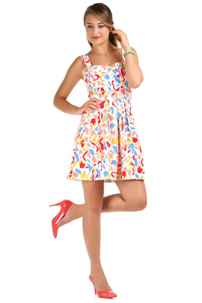 Rengarenk Çok Zarif Patırtı ELbise Modeli