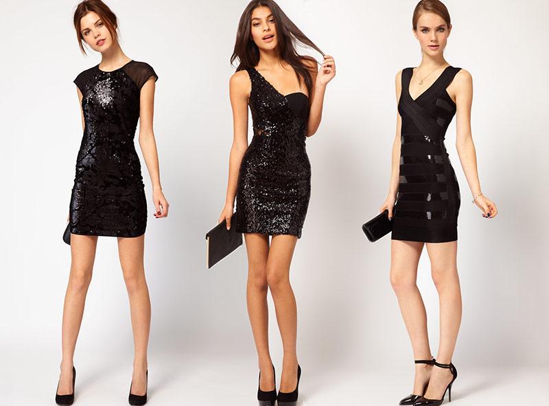 Siyah renkli mini payetli elbise modelleri