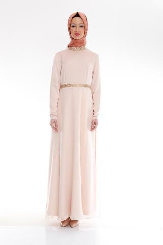 Somon renkli en şık Armine elbise modeli