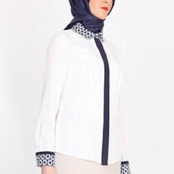 Yaka detaylı ve desenli Armine gömlek modeli
