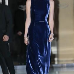 Gece Mavisi Kadife Elbise Modeli