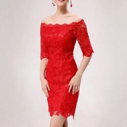 Kırmızı Renkli Güpürlü Elbise Modeli
