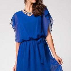Mavi Renkli Şifon Detaylı DeFacto Elbise Modeli