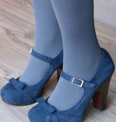 Mavi renkli süet bayan ayakkabı modeli