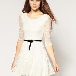 Uçuşan Kumaşlı Güpürlü Elbise Modeli