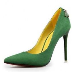 Yeşil renkli oldukça zarif süet bayan ayakkabı modeli