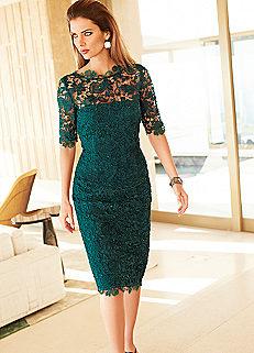 Zümrüt Yeşili Güpürlü Elbise Modelleri