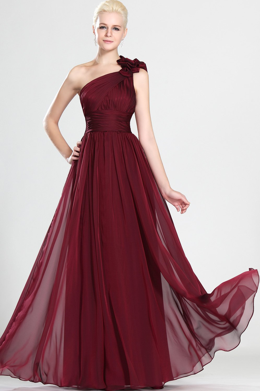 Şifon Detaylı Bordo Abiye Elbise Modelleri