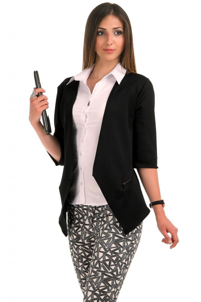 Asimetrik Kesim Patırtı Bayan Ceket Modeli