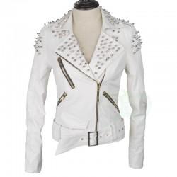 Beyaz Renkli Bayan Zımbalı Ceket Modeli