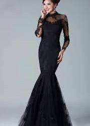 Dantel süslemeli balık etek elbise modeli