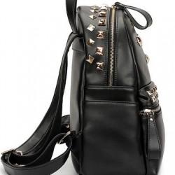 Deri Siyah Renkli Zımbalı Çanta Modeli