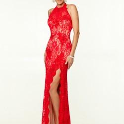 En İddialı Kırmızı Renkli Dantelli Elbise Modeli