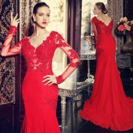 Kırmızı Dantel Süslemeli Uzun Kollu Abiye Modeli