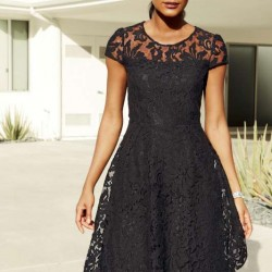 Siyah Renkli Dantelli Elbise Modelleri 2015