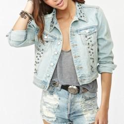 Zımbalı Bayan Kot Ceket Modelleri 2015-2016