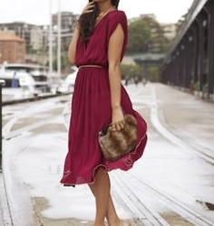 Çok Güzel Bordo Renkli Elbise Modelleri