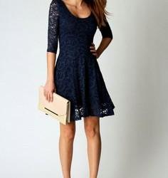 Dantelli Mini Saks Mavis Elbise Modeli