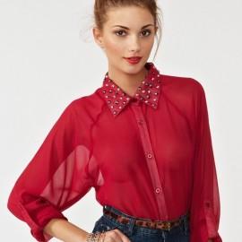 En Tarz Kırmızı Şifon Gömlek Modelleri