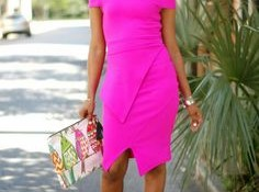 En Tarz Neon Pembe Elbise Modelleri