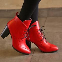 Kırmızı Renkli Bayan Kısa Bot Modelleri