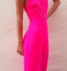 Neon Pembe Uzun Elbise Modeli