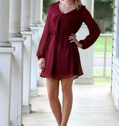 Tül Detaylı Bordo Renkli Elbise Modelleri ve Kombinler